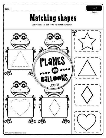 matching shapes worksheets