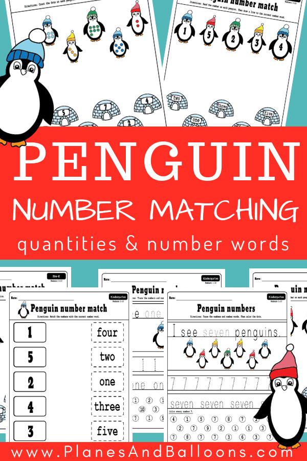 Number matching free printable worksheets. Free number matching worksheets with number words, fine motor tracing sheets, number matching 1-10 worksheets. #preschool