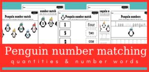 Penguin number matching worksheets