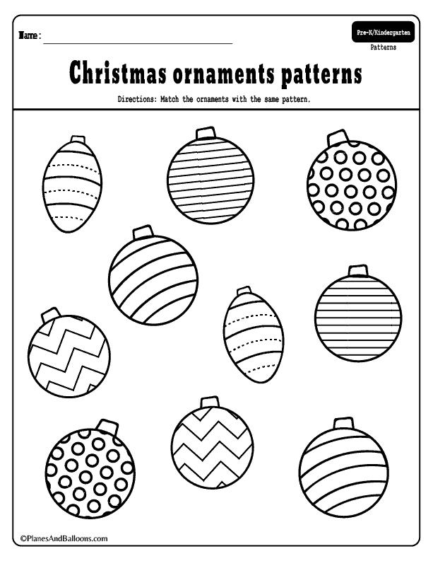 Preschool Christmas math activities - preschool Christmas theme activities. Add these ornaments pattern worksheets to your preschool Christmas theme lesson plan for sure this year! #preschool