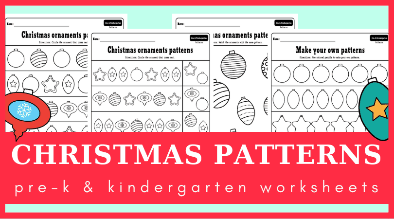 Preschool Christmas math activities - preschool Christmas theme activities. Add these ornaments pattern worksheets to your preschool Christmas theme lesson plan for sure this year! #preschool