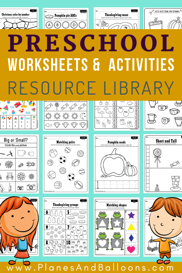 An image of several preschool worksheets
