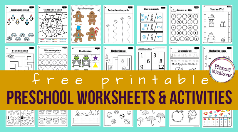 200+ Free preschool worksheets in PDF format to print - Planes ...