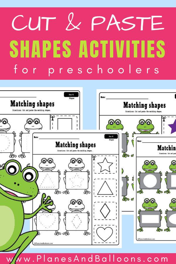 Fun free printable shapes worksheets for preschool. It's a great idea to add these cut and paste worksheets for preschool to my shapes theme. #preschool