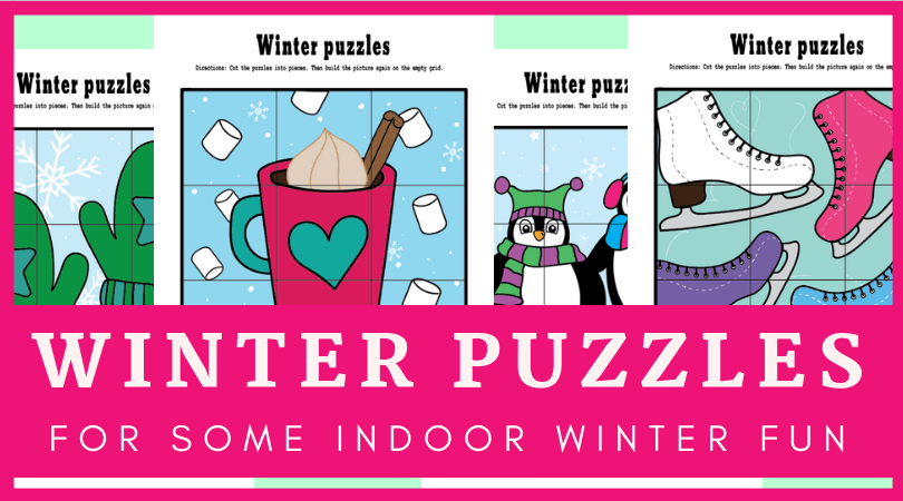 Fun printable winter activities for kids. These fine motor cut and paste puzzles are great for classroom or at home fun! Penguins, mittens, hot chocolate and ice skates puzzles are easy to prepare and a lot of fun to play. #preschool