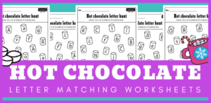 Hot chocolate and marshmallows letter matching