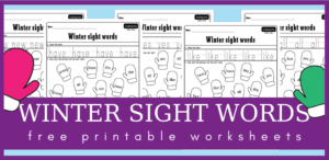 Mitten sight words worksheets for your winter lesson plans
