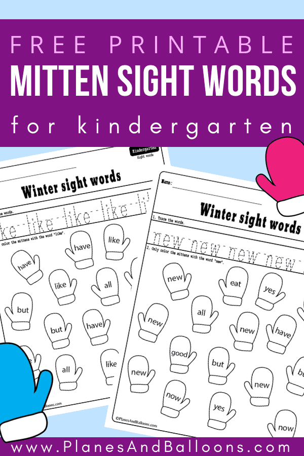 Winter sight words worksheets for kindergarten free printable. Great addition to your sight words activities for kindergarten at home or literacy centers in class. Fun winter worksheets! #kindergarten