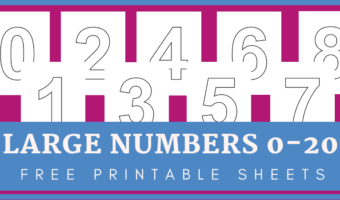 Large printable numbers 1-20 for simple number activities