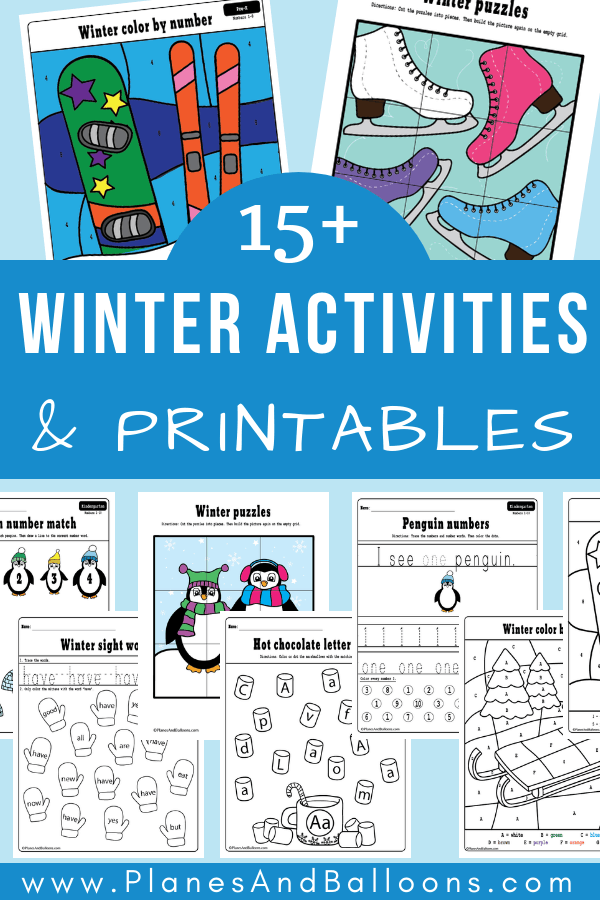 Free printable winter activities for preschool and kindergarten. From learning numbers to letters to fine motor skills. These are fun winter worksheets! #prek