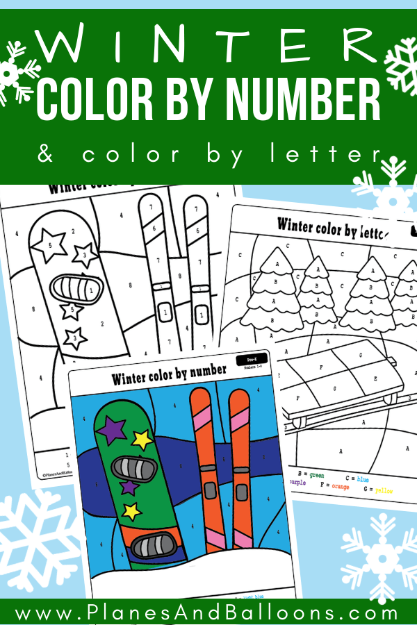 Free winter preschool printables - winter color by numbers worksheets. Fun winter coloring pages with learning letters and numbers. #preschool