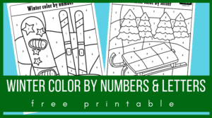 Winter color by number and color by letter pages
