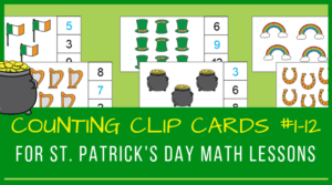 St. Patrick's Day counting clip cards