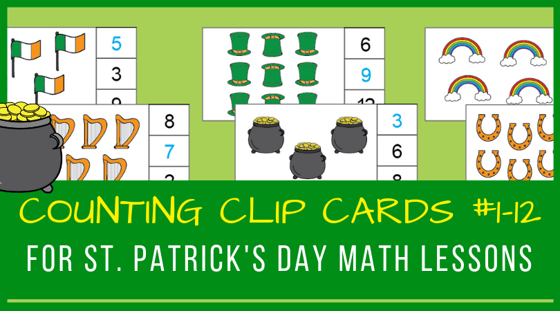 St. Patrick's Day cliFun and free counting clip cards for numbers 1 to 12! Perfect for preschool and kindergarten St. Patrick's Day lesson plans! #prek #kindergarten #stpatricksday