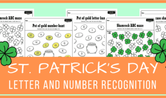 St. Patrick's Day letter and number recognition activities