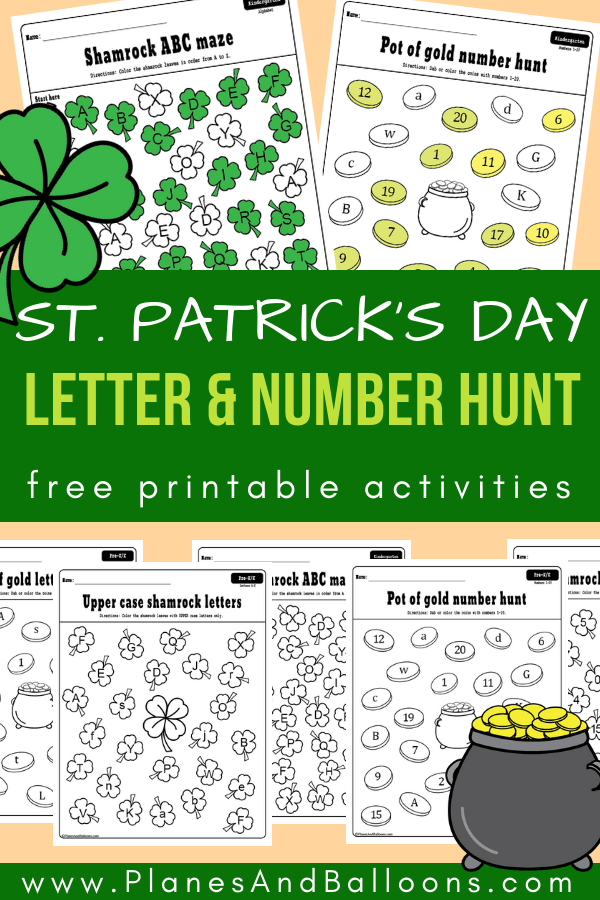 Fun St. Patrick's day letter and number worksheets for preschool and kindergarten. Letter recognition and number recognition free printable activities. #prek #kindergarten #stpattys