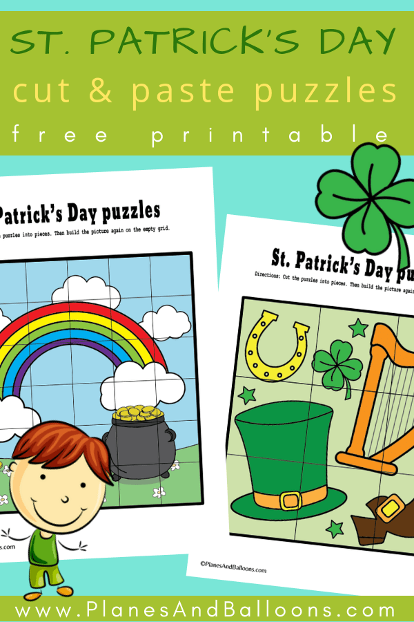 Free printable St. Patrick's day puzzles - fun activities for kids perfect for fine motor skills or cutting practice. #prek #preschool #stpatricksday