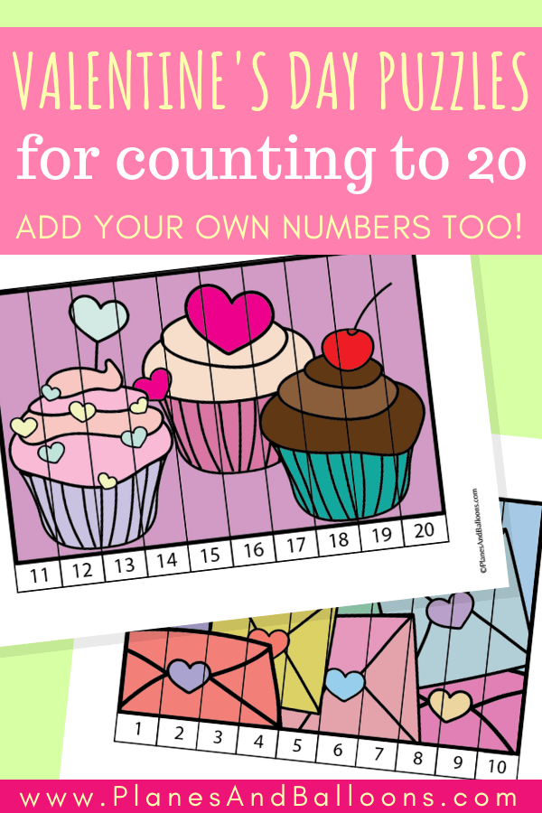 Valentine's day math and numbers activities - number order 1-20 puzzles for preschool and kindergarten. Fun Valentine's day activity! #preschool #kindergarten