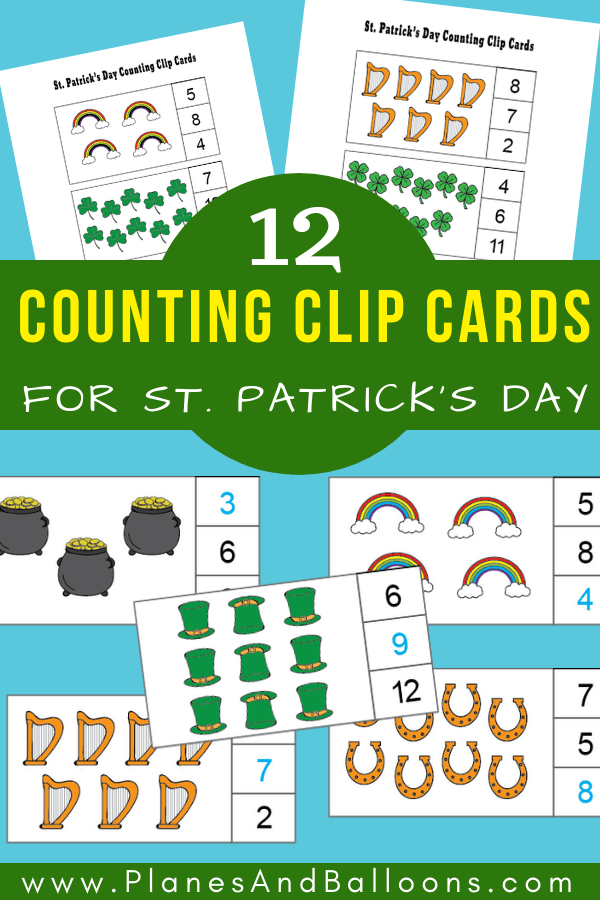 Fun and free counting clip cards for numbers 1 to 12! Perfect for preschool and kindergarten St. Patrick's Day lesson plans! #prek #kindergarten #stpatricksday