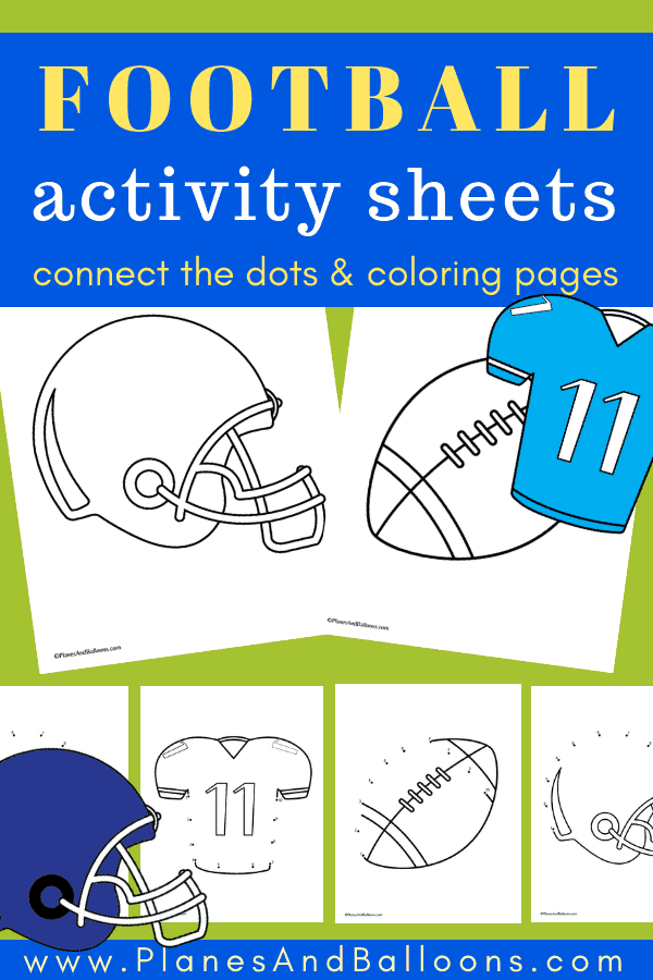 Fun football preschool activities - coloring pages and connect the dots. Number order activities for preschool. Perfect for your preschool football theme. #prek #football