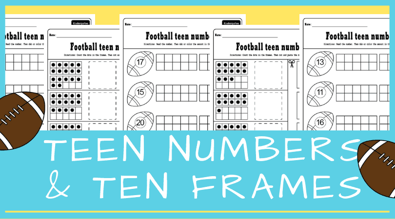 Fun teen numbers worksheets for kindergarten. Ten frames and teen numbers in one activity! Perfect for kindergarten math centers. #kindergarten #math