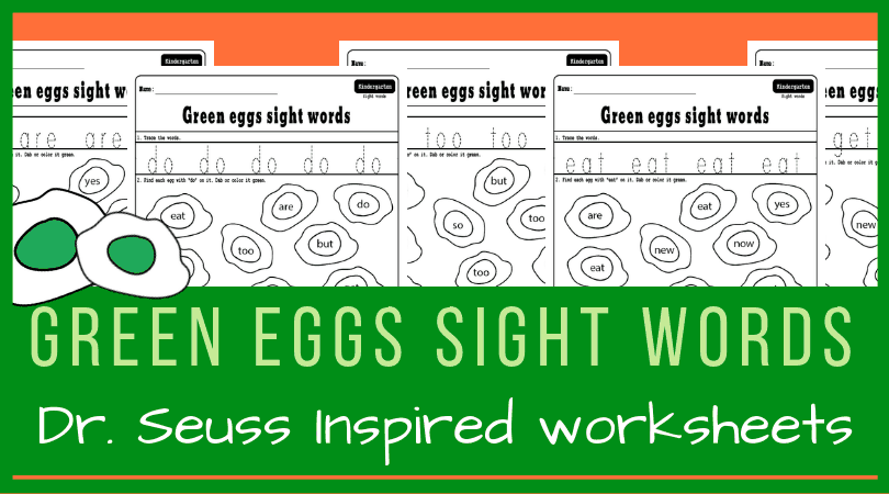 Green eggs and ham literacy activity for kindergarten - Dr. Seuss inspired sight words hunt. Perfect for Dr. Seuss kindergarten theme. #kindergarten #drseuss