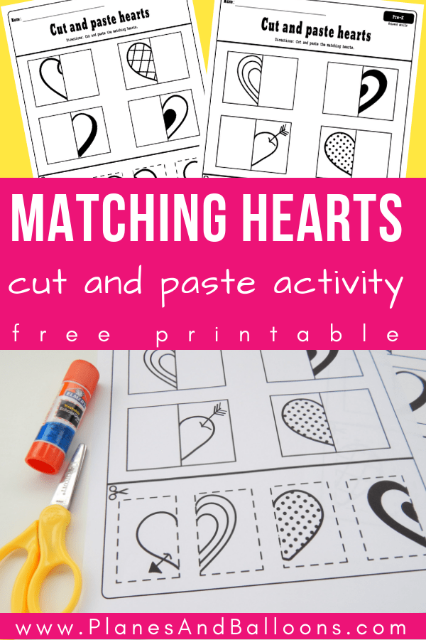 Free cut and paste hearts worksheets