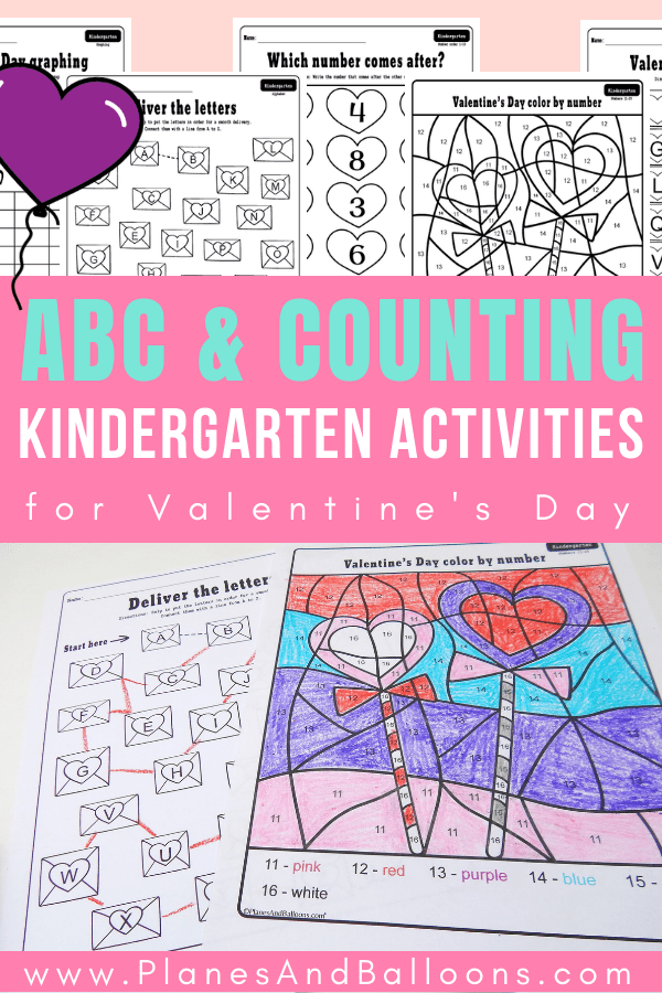 Free printable Valentine's Day activities for kindergarten - color by number, letters and numbers worksheets. Perfect for literacy centers or morning work. #kindergarten #valentinesday