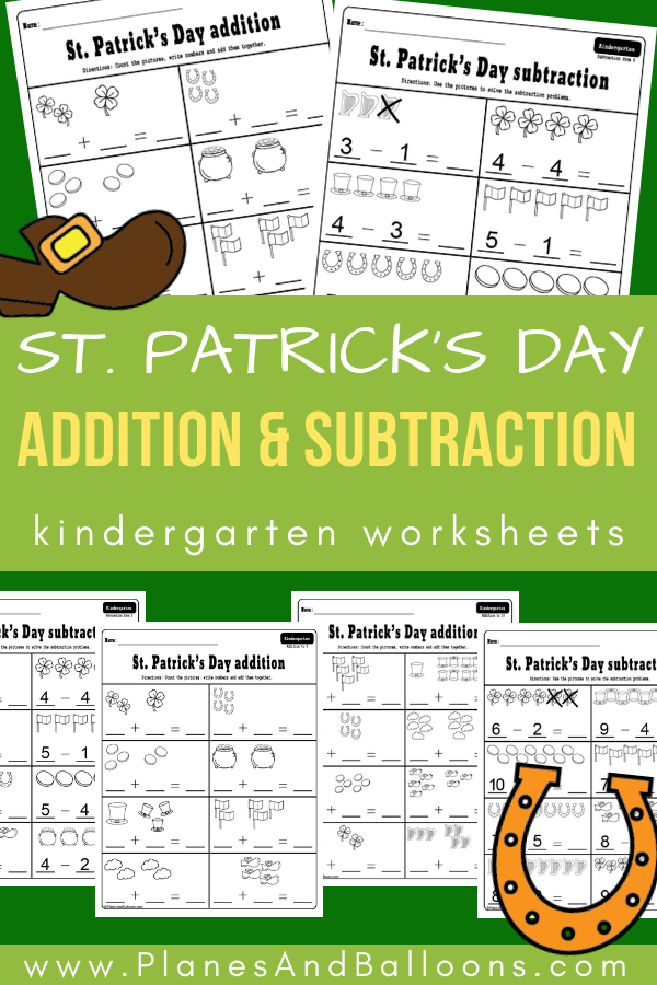 Fun March worksheets for St. Patrick's Day math activities - addition and subtraction worksheets for kindergarten. Great for morning work or small groups. #kindergarten #worksheets