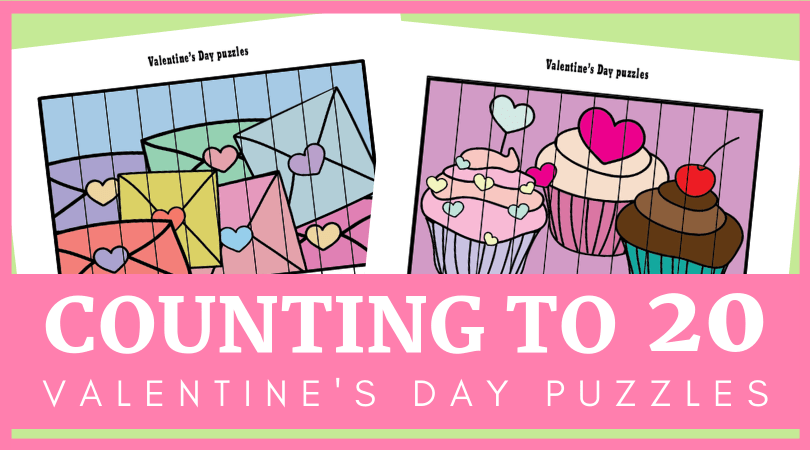 photograph regarding Valentines Puzzles Printable identify Cost-free printable Valentines Working day quantity puzzles for counting toward 20