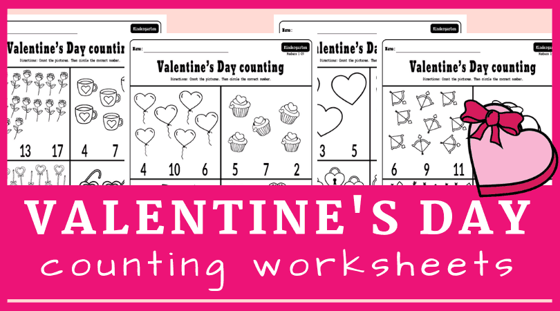 Fun Valentine's Day kindergarten math worksheets free printable. Counting worksheets for kindergarten math, perfect for morning work. #kindergarten #worksheets