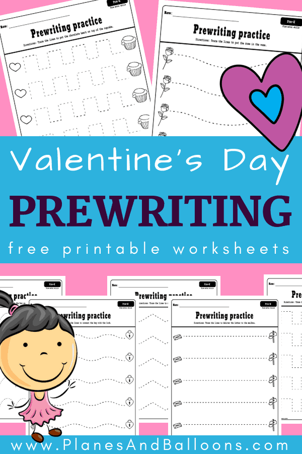 Free printable Valentine's day prewriting activities for preschool. Fun prewriting worksheets for improving fine motor skills and pencil grip. #prek #preschool #valentinesday