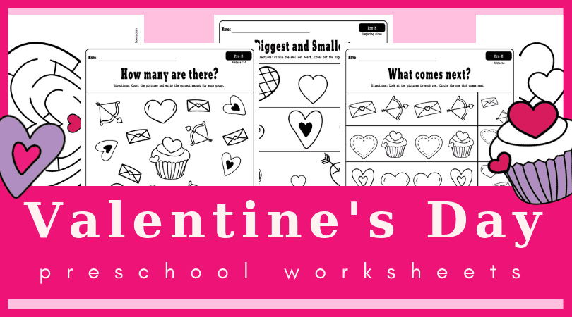 Fun Valentine's day worksheets for preschool - free printable Valentine's day worksheets full of hearts and activities. Great for math, fine motor skills, coloring pages and more. #preschool #worksheets