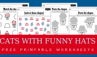 Cats with funny hats – Dr. Seuss inspired shapes matching worksheets