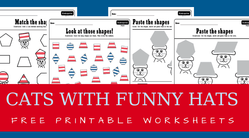 Fun shapes printables for preschool and kindergarten. Dr. Seuss inspired shapes matching worksheets. Perfect for math centers or morning work. #kindergarten #prek #drseuss