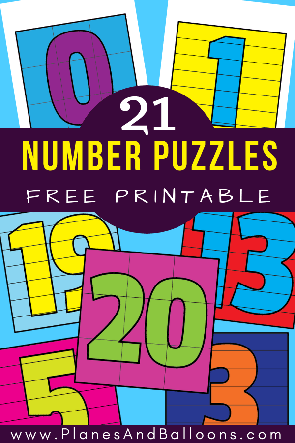 Fun free printable number puzzles for preschool and kindergarten. Number puzzles 1-20 perfect idea for math centers and morning work. #prek #kindergarten