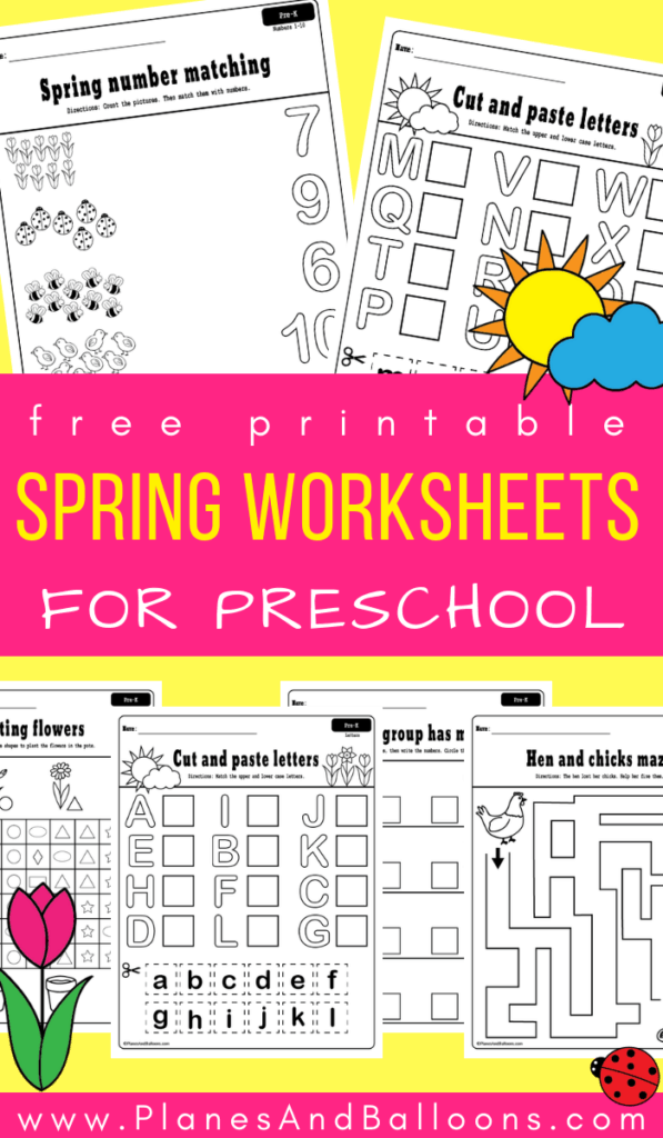 Free printable spring worksheets for preschool - fun spring activities for fine motor skills, numbers, letters, cut and paste, and more! #preschool #prek #spring
