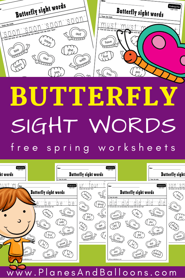 Spring sight words worksheets for kindergarten - fun free printable literacy activities. #kindergarten #freeworksheets #sightwords