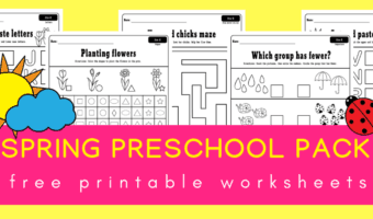Spring preschool worksheets printable pack