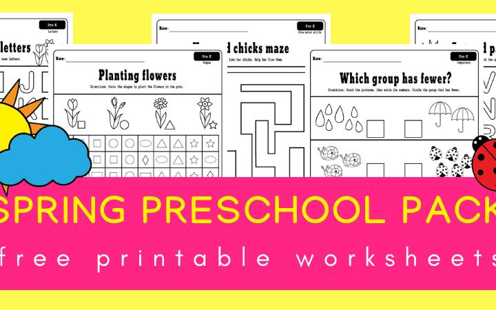 Spring preschool worksheets printable pack