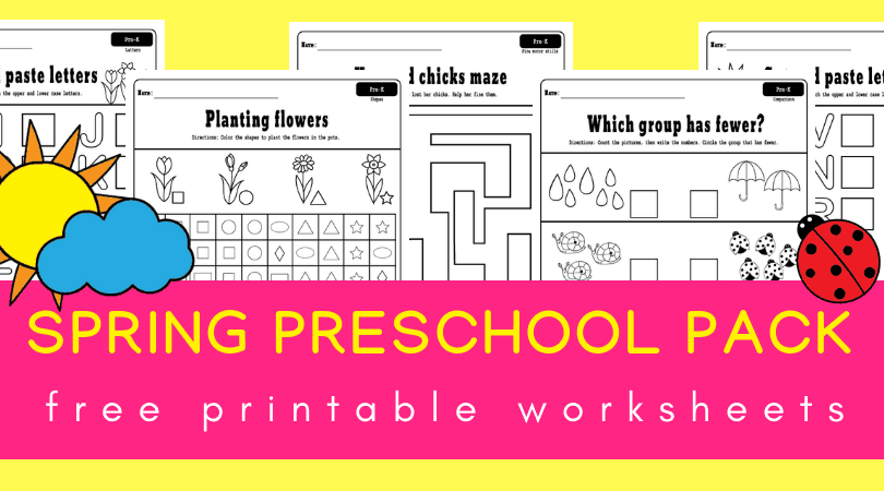 Spring Preschool Worksheets Printable Pack Planes Balloons