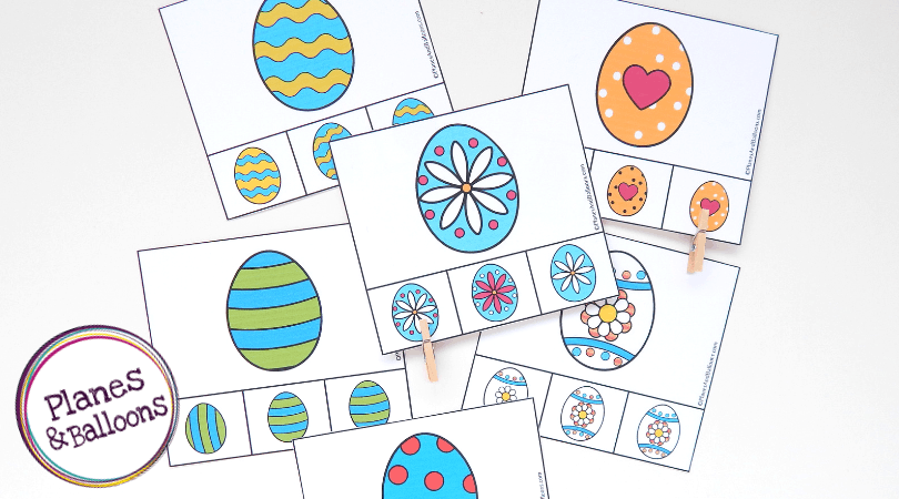 A photo of the Easter eggs clip cards on a white background.