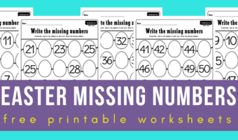 Easter missing numbers 1-50 worksheets