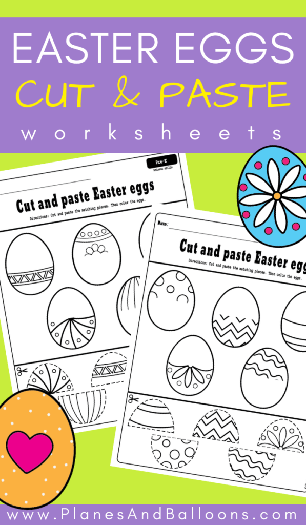 Easter eggs cut and paste worksheets