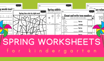 Spring kindergarten worksheets pack
