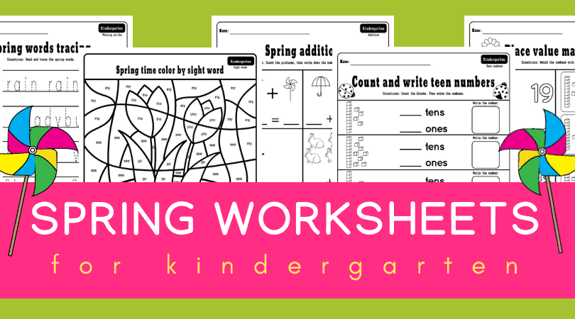 Free printable spring kindergarten worksheets - fun activities for math and literacy centers, morning work, learning place value, sight words and more! #kindergarten #spring #worksheets