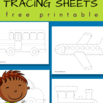 tracing worksheets for preschoolers - vehicles, cars, planes, trains