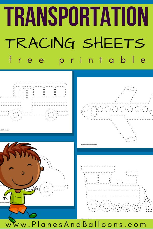 Tracing worksheets vehicles