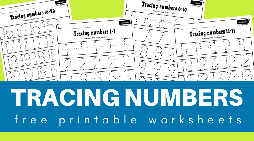 Numbers 1-20 tracing worksheets free printable PDF