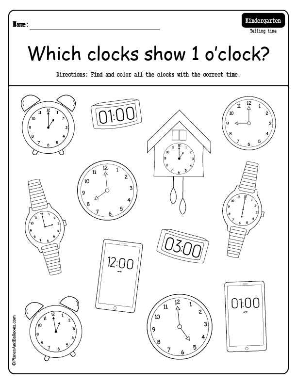 Telling Time To The Hour Worksheets Planes Balloons